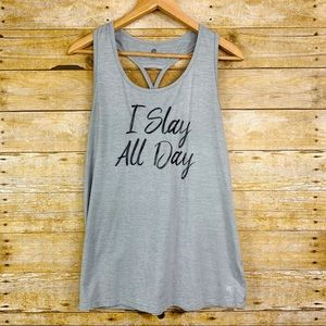 Champion Racerback Tank I Slay All Day Grey Medium